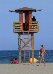 Lifeguards watch tower at Vera Playa - photo copyright 2007 www.veraplaya.info